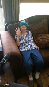 Mom in her chemo hat